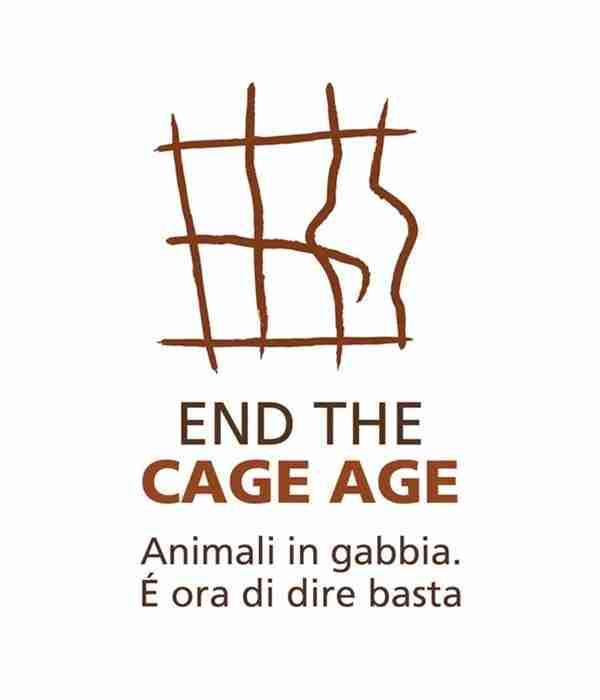 Logo di End The Cage Age per dire basta alle gabbie negli allevamenti